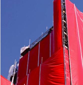 Keder tarpaulins for roof-over-roof & facade